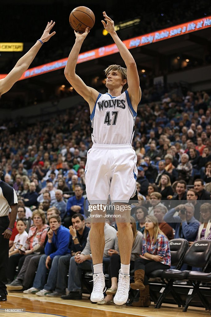 Andrei Kirilenko #47 of the Minnesota Timberwolves shoots the ball against the Golden State Warriors on February 24, 2013 at Target Center in Minneapolis, Minnesota.