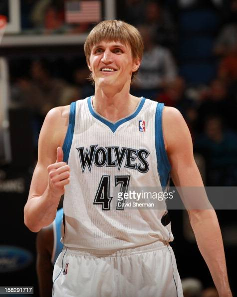 Andrei Kirilenko of the Minnesota Timberwolves smiles during the game between the Minnesota Timberwolves and the Denver Nuggets on December 12 2012...
