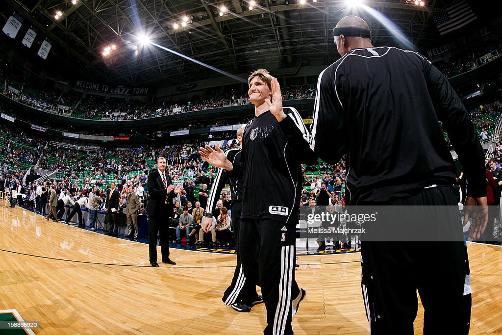 Andrei Kirilenko #47 of the Minnesota Timberwolves smiles while greeting teammates before playing against his former team, the Utah Jazz, at Energy Solutions Arena on January 2, 2013 in Salt Lake City, Utah.