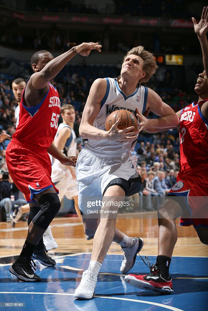 Andrei Kirilenko #47 of the Minnesota Timberwolves splits defense during the game between Philadelphia 76ers and the Minnesota Timberwolves on February 20, 2013 at Target Center in Minneapolis, Minnesota.