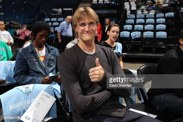 Andrei Kirilenko of the Minnesota Timberwolves supports the Minnesota Lynx during the 2012 WNBA Western Conference Semifinals Game One against the...