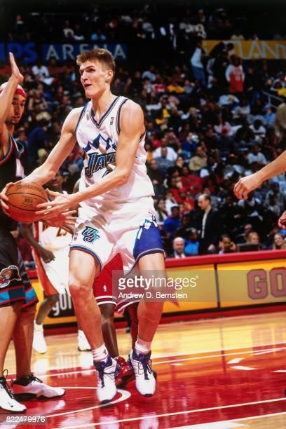 Andrei Kirilenko of the Utah Jazz looks to shoot during the 1997 Rising Stars Challenge played February 8 2003 at the Philips Arena in Atlanta...