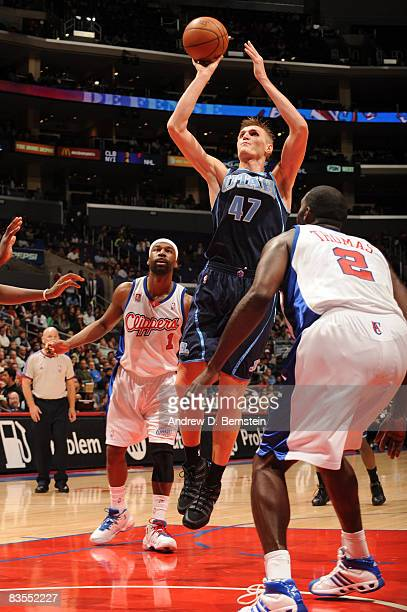 Andrei Kirilenko of the Utah Jazz shoots against the Los Angeles Clippers at Staples Center on November 3 2008 in Los Angeles California NOTE TO USER...