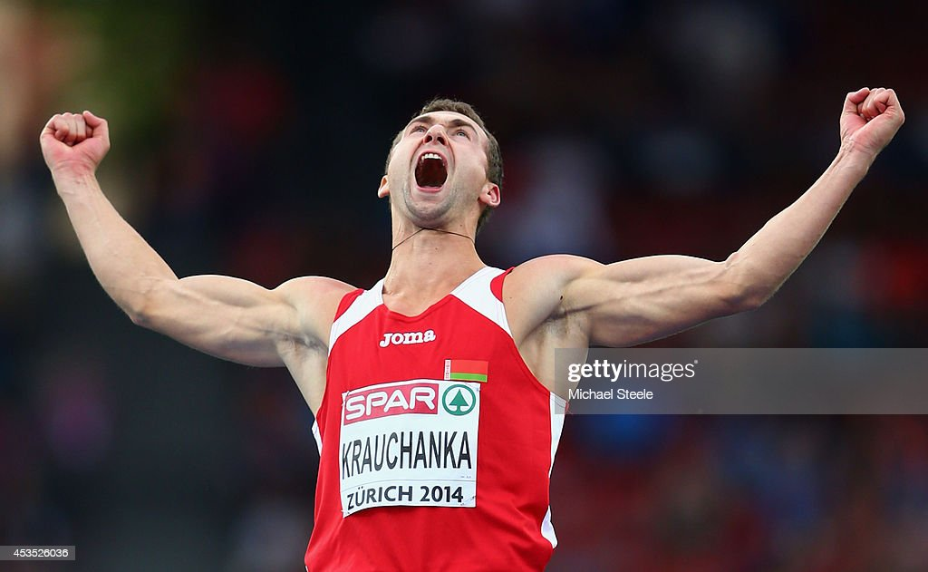<a gi-track='captionPersonalityLinkClicked' href=/galleries/search?phrase=Andrei+Krauchanka&family=editorial&specificpeople=2985036 ng-click='$event.stopPropagation()'>Andrei Krauchanka</a> of Belarus celebrates as he competes in the Men's Decathlon High Jump during day one of the 22nd European Athletics Championships at Stadium Letzigrund on August 12, 2014 in Zurich, Switzerland.