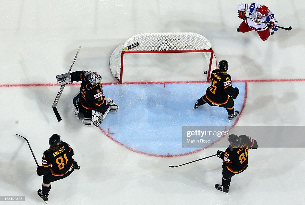 Andrei Loktionovic (#21) of Russia celebrates his team's 2nd goal during the IIHF World Championship group H match between Germany and Russia at Hartwall Areena on May 5, 2013 in Helsinki, Finland.