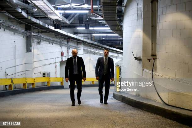 Andrei Markov and Alexei Emelin of the Montreal Canadiens prior to Game Six against the New York Rangers in the Eastern Conference First Round during...