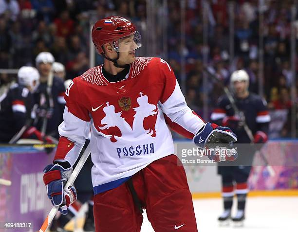 Andrei Markov of Russia reacts after a play in the third period against the United States during the Men's Ice Hockey Preliminary Round Group A game...