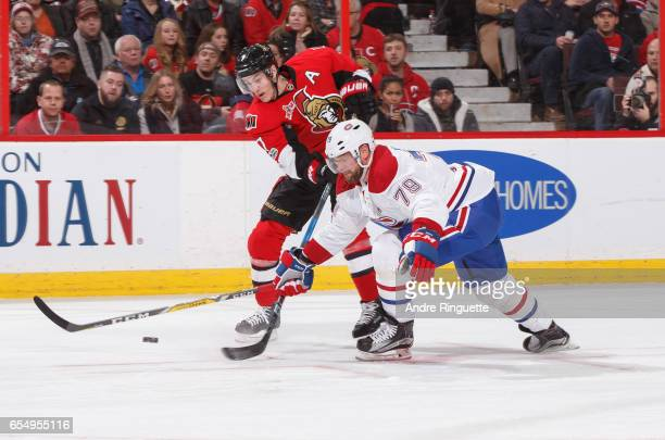 Andrei Markov of the Montreal Canadiens blocks a shot attempt by Kyle Turris of the Ottawa Senators at Canadian Tire Centre on March 18 2017 in...