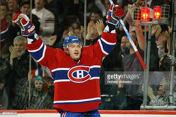 Andrei Markov of the Montreal Canadiens celebrates his secondperiod goal against the Vancouver Canucks at the Bell Centre on February 24 2009 in...