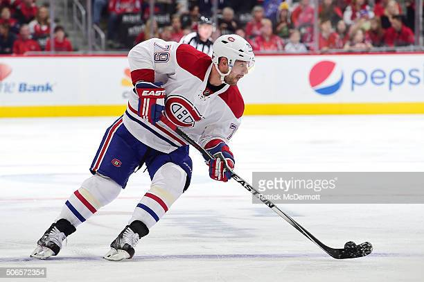 Andrei Markov of the Montreal Canadiens controls the puck in the second period during an NHL game against the Washington Capitals at Verizon Center...