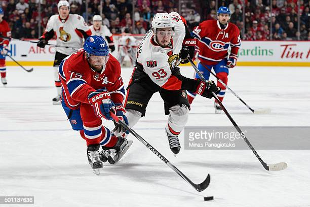 Andrei Markov of the Montreal Canadiens defends the puck against Mika Zibanejad of the Ottawa Senators during the NHL game at the Bell Centre on...