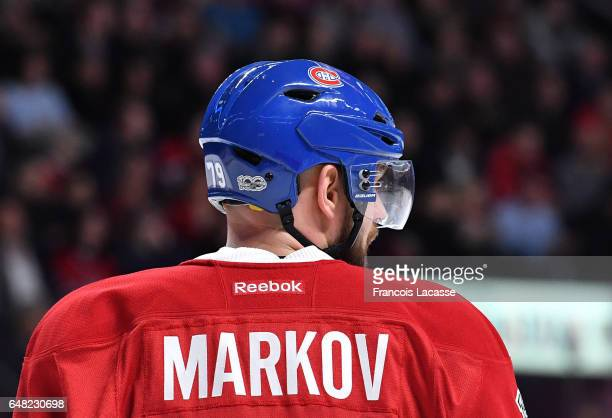 Andrei Markov of the Montreal Canadiens during the NHL game against the Nashville Predators in the NHL game at the Bell Centre on March 2 2017 in...