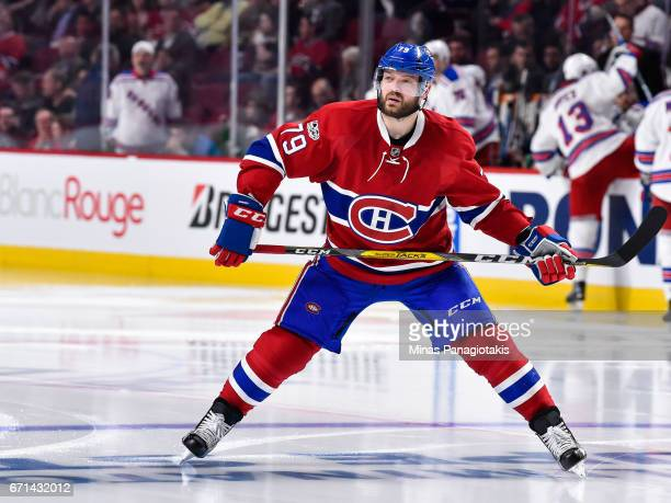 Andrei Markov of the Montreal Canadiens looks on as he skates against the New York Rangers in Game Five of the Eastern Conference First Round during...