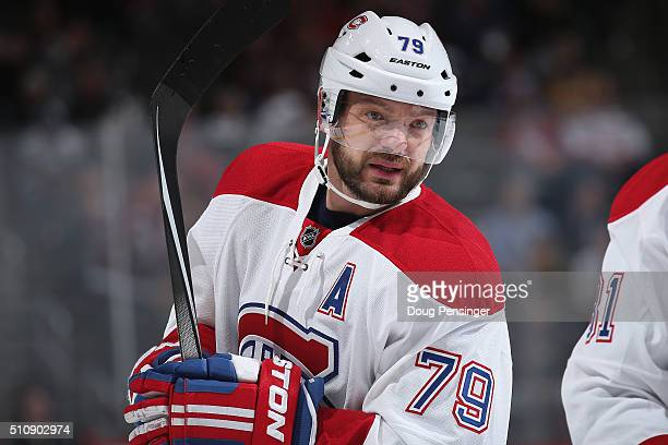 Andrei Markov of the Montreal Canadiens looks on during a break in the action against the Colorado Avalanche at Pepsi Center on February 17 2016 in...