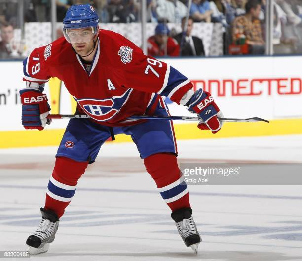Andrei Markov of the Montreal Canadiens looks on during a break in the game against the Toronto Maple Leafs on October 11 2008 at the Air Canada...