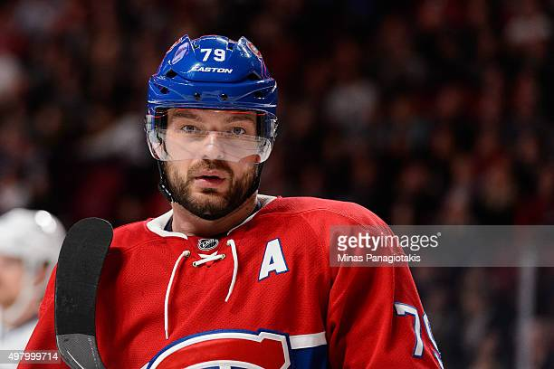 Andrei Markov of the Montreal Canadiens looks on during the NHL game against the Vancouver Canucks at the Bell Centre on November 16 2015 in Montreal...