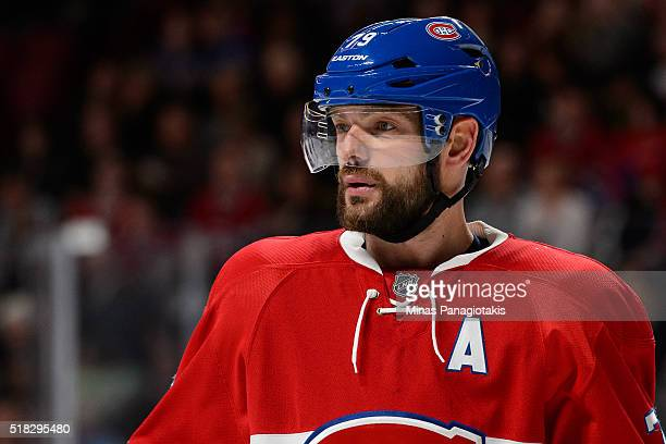 Andrei Markov of the Montreal Canadiens looks on during the NHL game against the New York Rangers at the Bell Centre on March 26 2016 in Montreal...