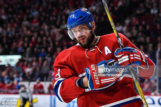Andrei Markov of the Montreal Canadiens looks on during the NHL game against the Vancouver Canucks at the Bell Centre on November 2 2016 in Montreal...
