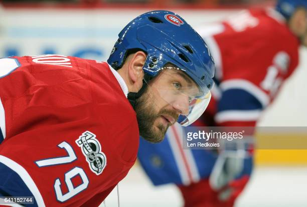 Andrei Markov of the Montreal Canadiens looks on during warmups prior to his game against the Philadelphia Flyers on February 2 2017 at the Wells...