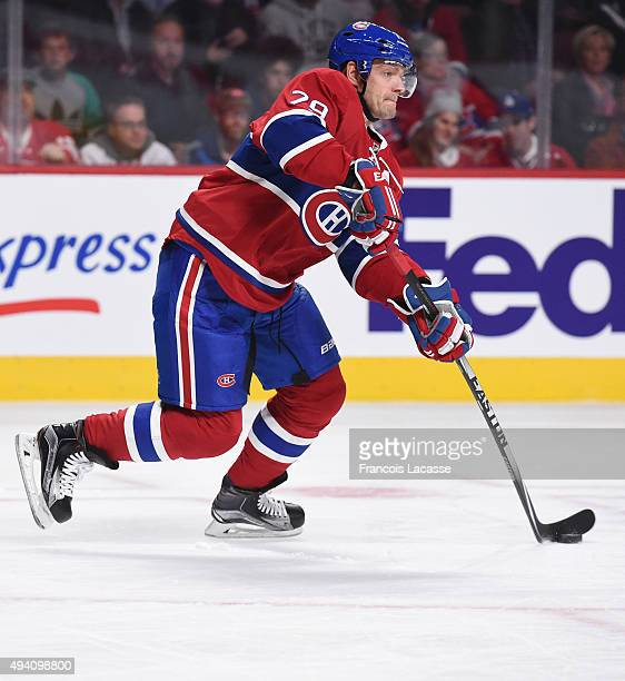 Andrei Markov of the Montreal Canadiens passes the puck against the Detroit Red Wings in the NHL game at the Bell Centre on October 17 2015 in...