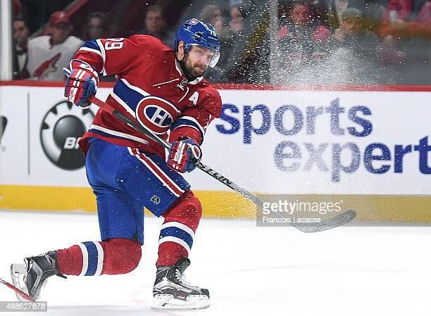 Andrei Markov of the Montreal Canadiens passes the puck against the Arizona Coyotes in the NHL game at the Bell Centre on November 19 2015 in...