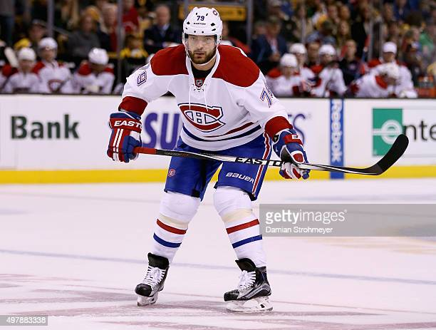 Andrei Markov of the Montreal Canadiens plays in the game against the Boston Bruins at TD Garden on October 10 2015 in Boston Massachusetts