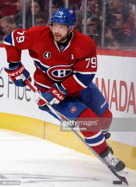 Andrei Markov of the Montreal Canadiens plays in the game against the Los Angeles Kings at the Bell Centre on December 12 2014 in Montreal Quebec...