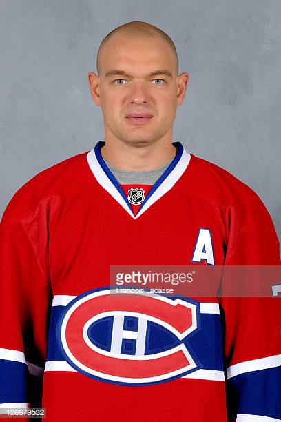 Andrei Markov of the Montreal Canadiens poses for his official headshot for the 20112012 season on September 16 2011 at the Bell Sports Complex in...