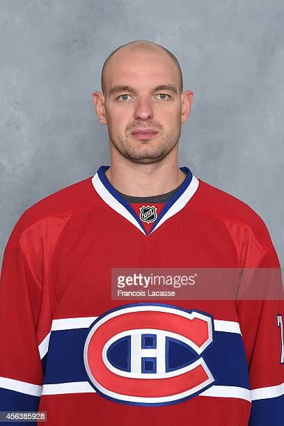 Andrei Markov of the Montreal Canadiens poses for his official headshot for the 20142015 season on September 18 2014 at the Bell Sports Complex in...