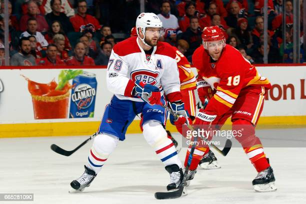 Andrei Markov of the Montreal Canadiens skates against the Calgary Flames during an NHL game on March 9 2017 at the Scotiabank Saddledome in Calgary...