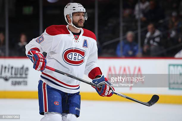 Andrei Markov of the Montreal Canadiens skates against the Colorado Avalanche at Pepsi Center on February 17 2016 in Denver Colorado The Avalanche...