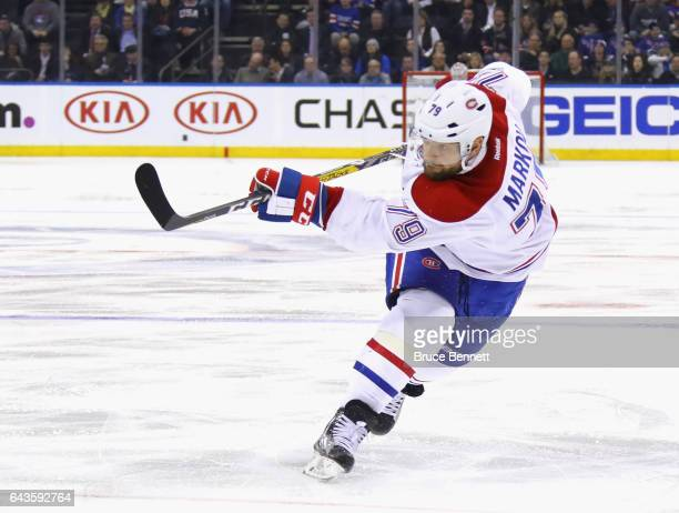 Andrei Markov of the Montreal Canadiens skates against the New York Rangers at Madison Square Garden on February 21 2017 in New York City The...