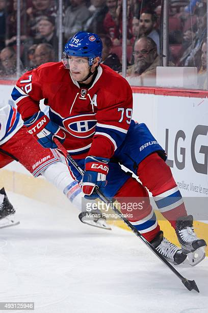 Andrei Markov of the Montreal Canadiens skates with the puck during the NHL game against the New York Rangers at the Bell Centre on October 15 2015...
