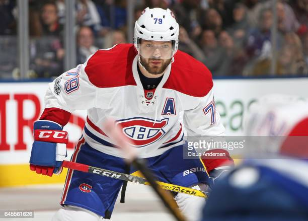 Andrei Markov of the Montreal Canadiens waits for a faceoff against the Toronto Maple Leafs during an NHL game at the Air Canada Centre on February...
