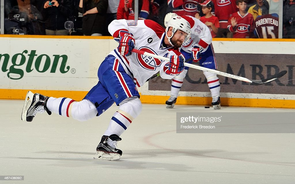 Andrei Markov #79 of the Montreal Canadiens warms up prior to a game against the Nashville Predators at Bridgestone Arena on March 24, 2015 in Nashville, Tennessee.