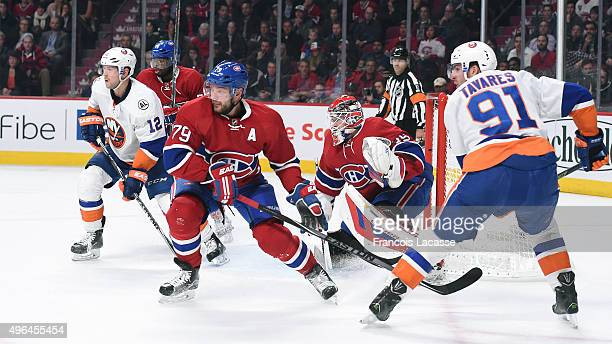 Andrei Markov PK Subban and Mike Condon of the Montreal Canadiens defend the goal against John Tavares and Josh Bailey of the New York Islanders in...