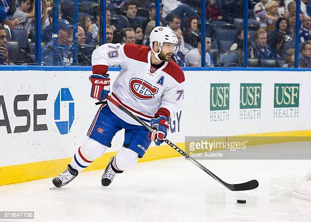 Andrei Markov the Montreal Canadiens skates against the Tampa Bay Lightning at the Amalie Arena on March 31 2016 in Tampa Florida