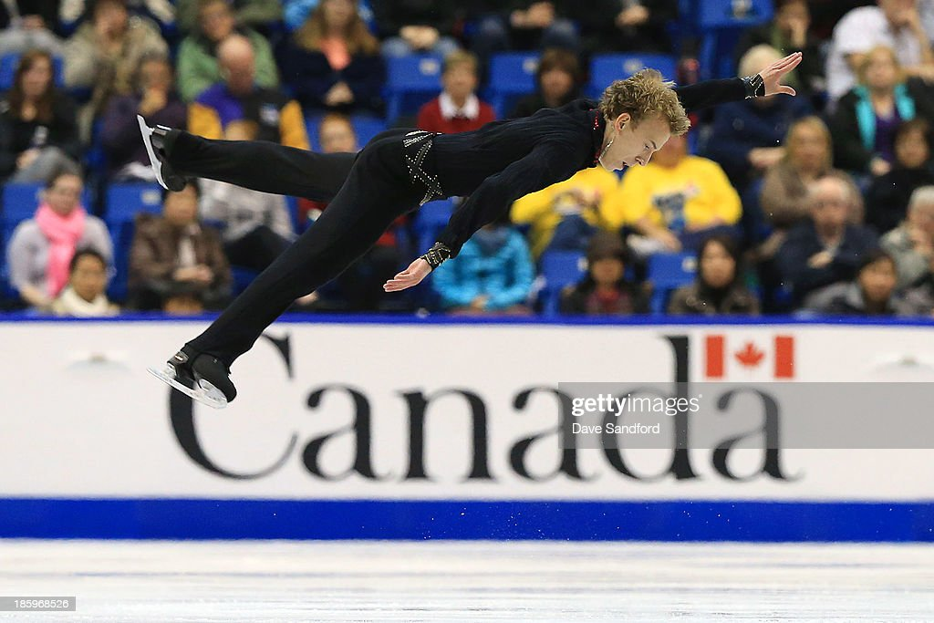 Andrei Rogozine of Canada skates during the men's free program on day two at the ISU GP 2013 Skate Canada International at Harbour Station on October 26, 2013 in Saint John, New Brunswick, Canada.