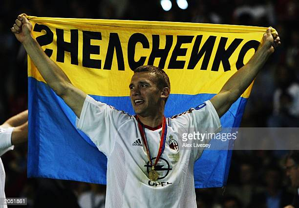 Andrei Shevchenko of Milan celebrates after scoring the winning penalty after the UEFA Champions League Final match between Juventus FC and AC Milan...