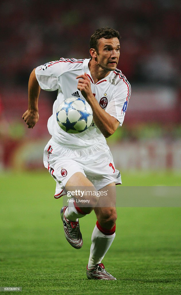 Andrei Shevchenko of Milan in action during the European Champions League final between Liverpool and AC Milan on May 25, 2005 at the Ataturk Olympic Stadium in Istanbul, Turkey.