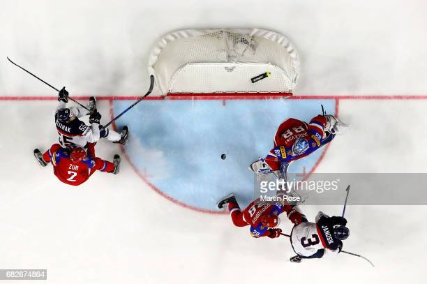 Andrei Vasilevski goaltender of Russia makes a save during the 2017 IIHF Ice Hockey World Championship game between Russia and Slovakia at Lanxess...