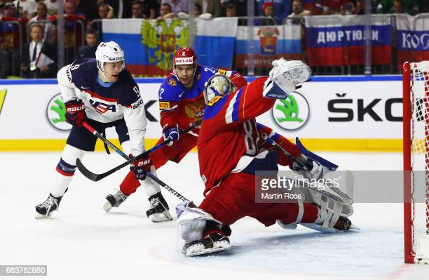 Andrei Vasilevski of Russia blocks a goal attempt by Andrew Copp of the USA during the Russia v USA 2017 IIHF Ice Hockey World Championship match at...