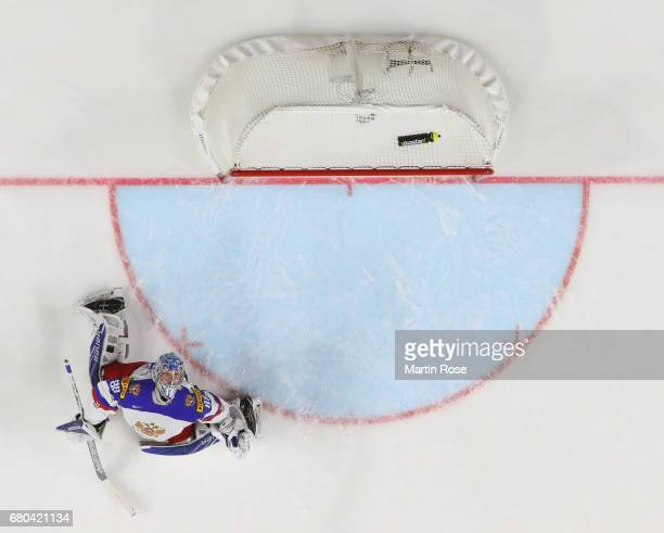 Andrei Vasilevski of Russia reacts during the 2017 IIHF Ice Hockey World Championship game between Germany and Russia at Lanxess Arena on May 8 2017...