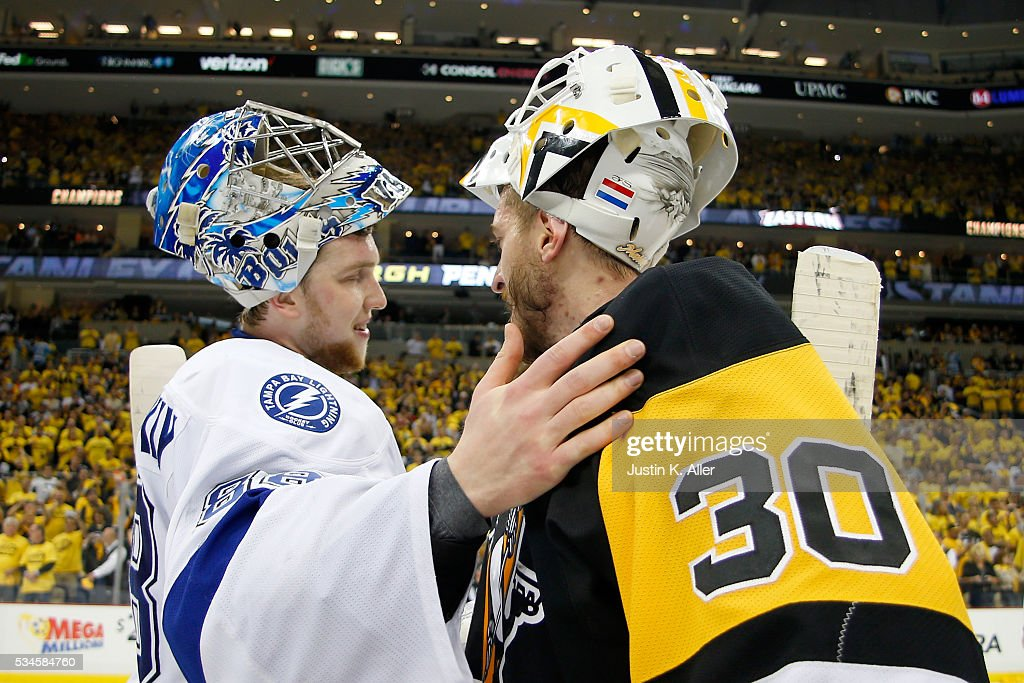 Andrei Vasilevskiy #88 of the Tampa Bay Lightning congratulates Matt Murray #30 of the Pittsburgh Penguins celebrate after defeating the Tampa Bay Lightning in Game Seven of the Eastern Conference Final with a score of 2 to 1 during the 2016 NHL Stanley Cup Playoffs at Consol Energy Center on May 26, 2016 in Pittsburgh, Pennsylvania.