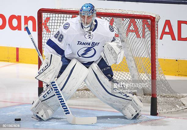 Andrei Vasilevskiy of the Tampa Bay Lightning faces shots in the warmup prior to playing against the Toronto Maple Leafs during an NHL game at the...