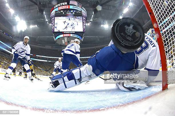 Andrei Vasilevskiy of the Tampa Bay Lightning gives up a goal to Phil Kessel of the Pittsburgh Penguins during the first period in Game Two of the...