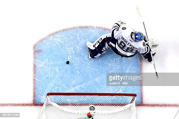 Andrei Vasilevskiy of the Tampa Bay Lightning gives up the game winning goal in overtime scored by Sidney Crosby of the Pittsburgh Penguins in Game...