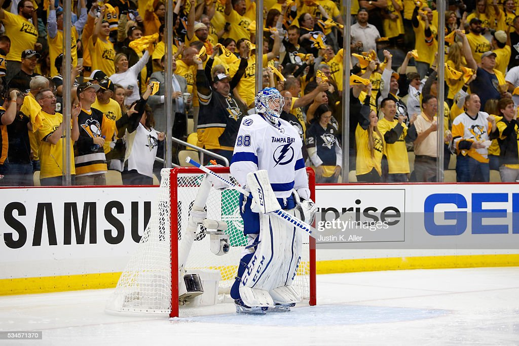 <a gi-track='captionPersonalityLinkClicked' href=/galleries/search?phrase=Andrei+Vasilevskiy+-+IJshockeyer&family=editorial&specificpeople=9594320 ng-click='$event.stopPropagation()'>Andrei Vasilevskiy</a> #88 of the Tampa Bay Lightning looks on after giving up a goal to Bryan Rust #17 of the Pittsburgh Penguins during the first period in Game Seven of the Eastern Conference Final during the 2016 NHL Stanley Cup Playoffs at Consol Energy Center on May 26, 2016 in Pittsburgh, Pennsylvania.