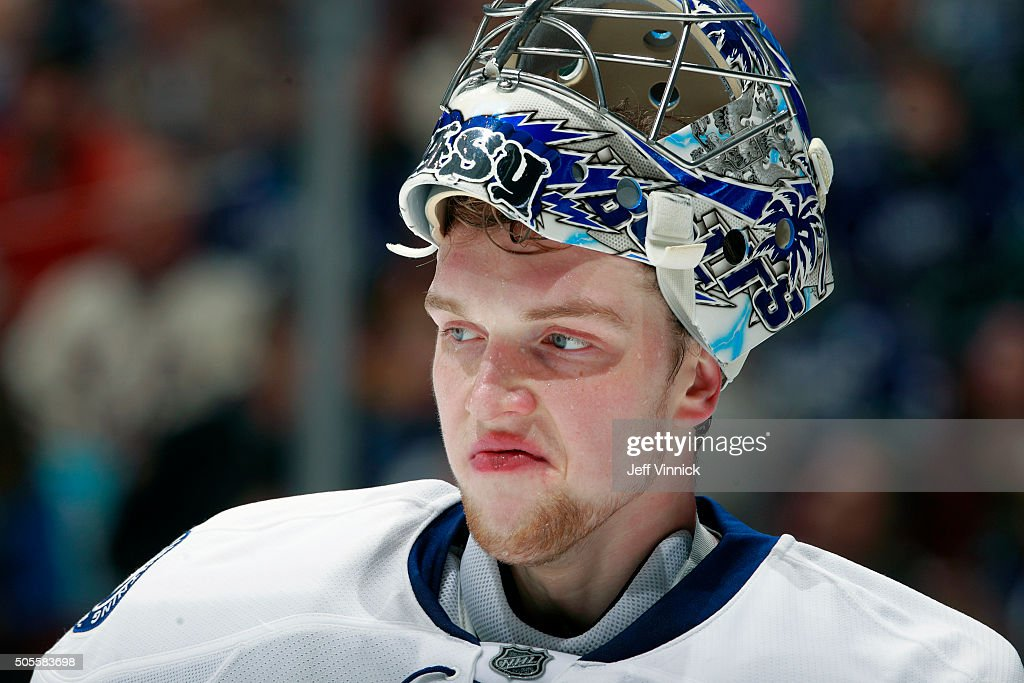Andrei Vasilevskiy #88 of the Tampa Bay Lightning looks on from his crease during their NHL game against the Vancouver Canucks at Rogers Arena January 9, 2016 in Vancouver, British Columbia, Canada.