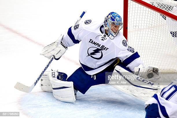 Andrei Vasilevskiy of the Tampa Bay Lightning makes a glove save during the second period against the Pittsburgh Penguins in Game Two of the Eastern...